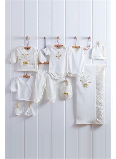 Nenny Baby Nenny Baby Buketli Kız Bebek 5'Li Hastane Çıkışı Zıbın Seti T727 Altın